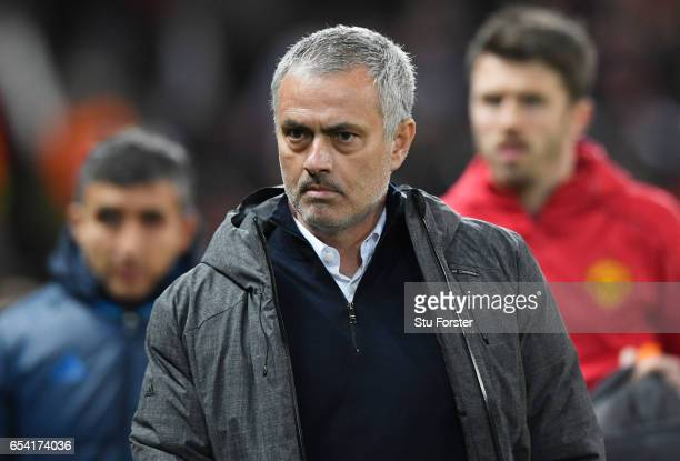 Jose Mourinho Manager of Manchester United looks on during the UEFA Europa League Round of 16 second leg match between Manchester United and FK...