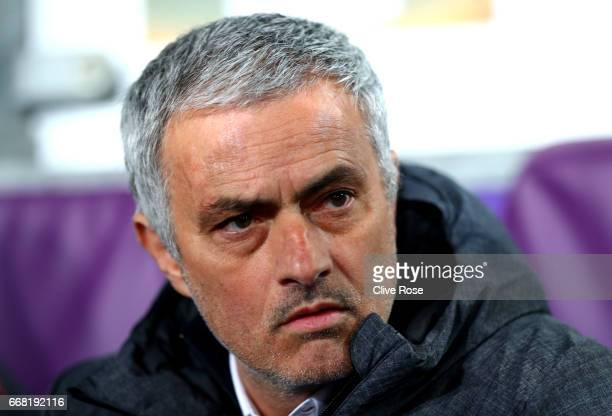 Jose Mourinho Manager of Manchester United looks on during the UEFA Europa League quarter final first leg match between RSC Anderlecht and Manchester...