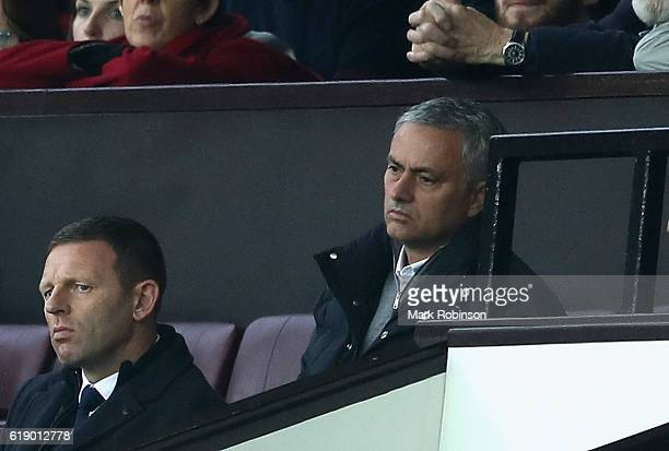 Jose Mourinho Manager of Manchester United looks on from stands during the Premier League match between Manchester United and Burnley at Old Trafford...