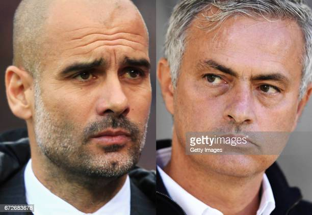 COMPOSITE OF TWO IMAGES Image numbers 624347276 and 609537058 In this composite image a comparision has been made between Josep Guardiola Manager of...