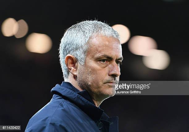 Jose Mourinho Manager of Manchester United looks on prior to kickoff during the UEFA Europa League group A match between Manchester United FC and FC...