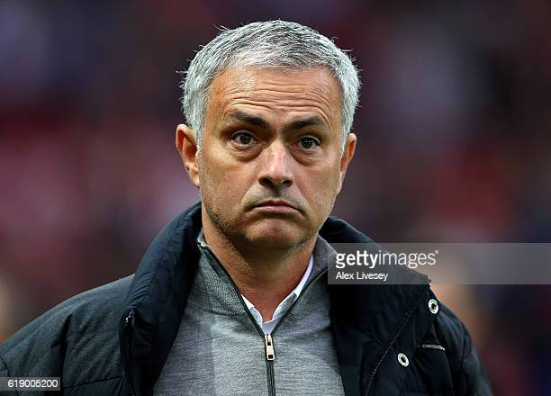 Jose Mourinho Manager of Manchester United looks on prior to the Premier League match between Manchester United and Burnley at Old Trafford on...