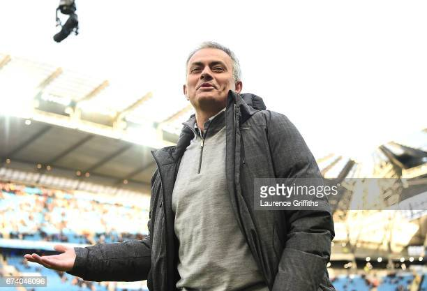 Jose Mourinho Manager of Manchester United looks on prior to the Premier League match between Manchester City and Manchester United at Etihad Stadium...