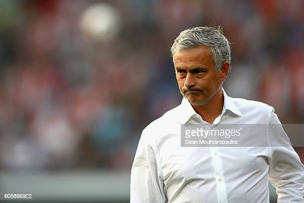 Jose Mourinho Manager of Manchester United looks on prior to the UEFA Europa League Group A match between Feyenoord and Manchester United FC at...