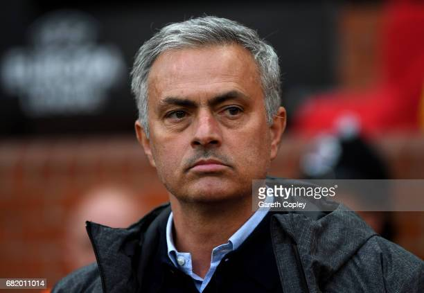 Jose Mourinho Manager of Manchester United looks on prior to the UEFA Europa League semi final second leg match between Manchester United and Celta...