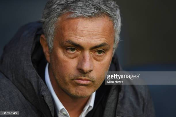 Jose Mourinho Manager of Manchester United looks on prior to the UEFA Europa League Final between Ajax and Manchester United at Friends Arena on May...