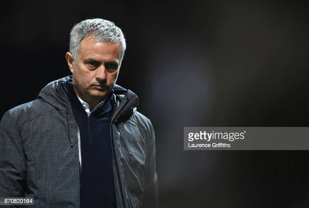 Jose Mourinho manager of Manchester United looks thoughtful during the UEFA Europa League quarter final second leg match between Manchester United...
