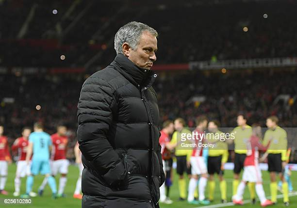 Jose Mourinho manager of Manchester United looks thoughtful prior to the UEFA Europa League Group A match between Manchester United FC and Feyenoord...