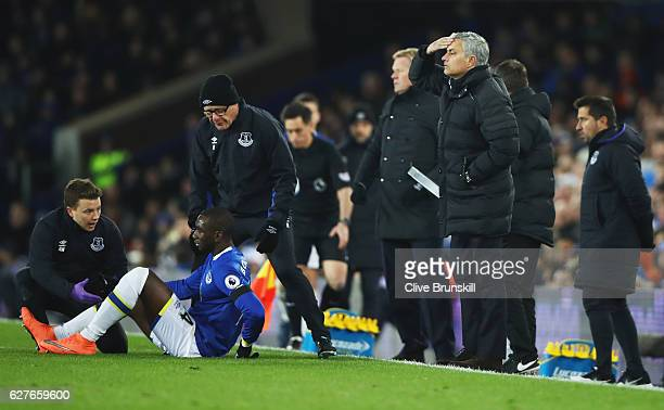 Jose Mourinho manager of Manchester United reacts as Yannick Bolasie of Everton is given treatment during the Premier League match between Everton...