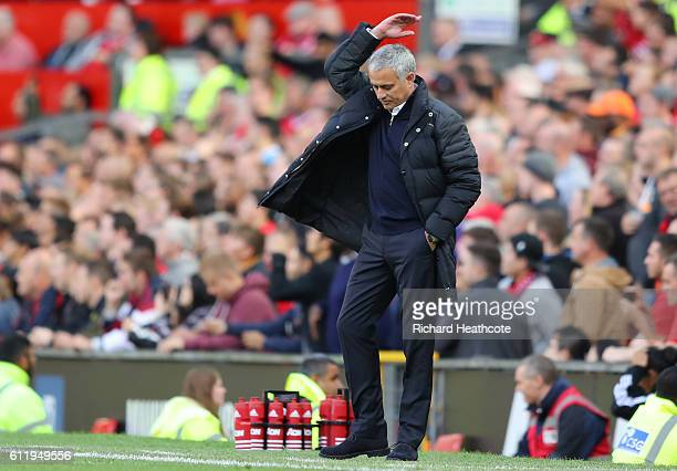 Jose Mourinho Manager of Manchester United reacts during the Premier League match between Manchester United and Stoke City at Old Trafford on October...