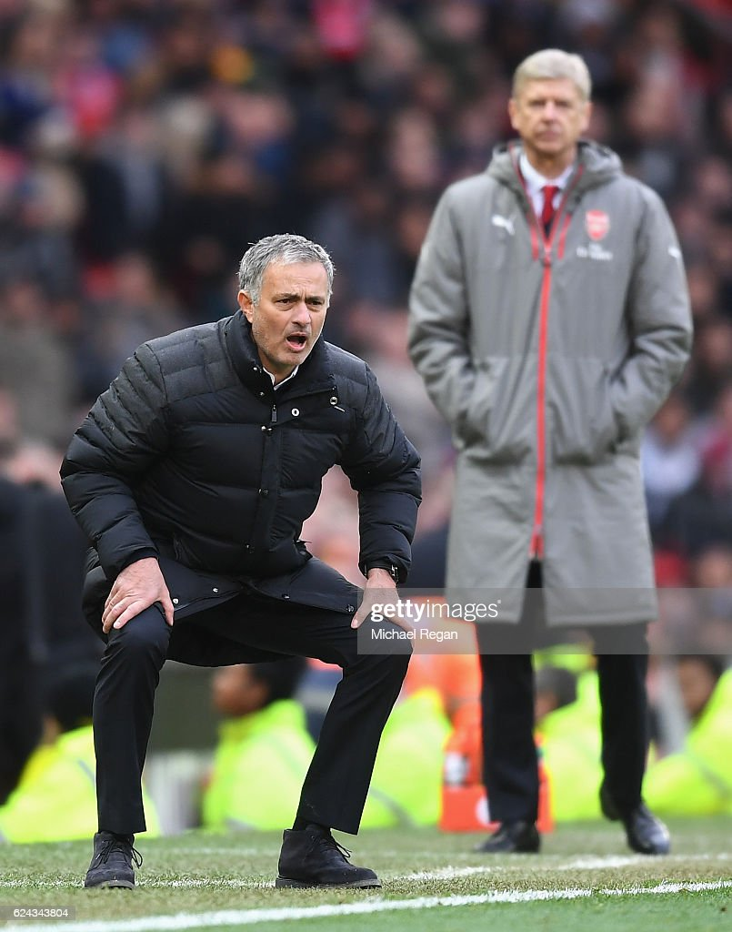 Jose Mourinho, Manager of Manchester United reacts during the Premier League match between Manchester United and Arsenal at Old Trafford on November 19, 2016 in Manchester, England.
