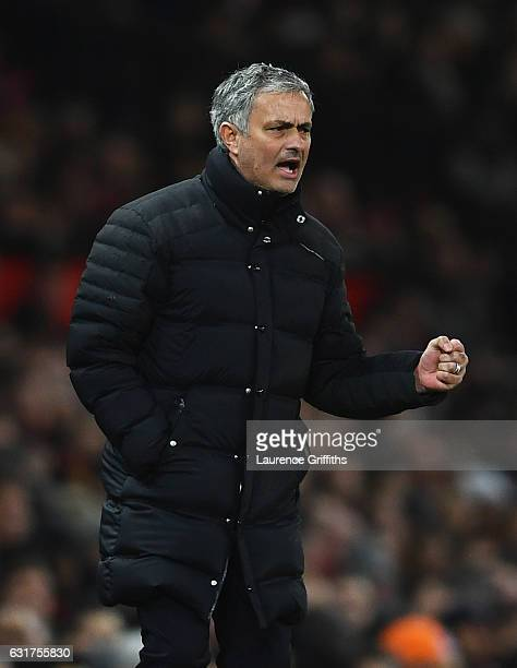 Jose Mourinho manager of Manchester United reacts during the Premier League match between Manchester United and Liverpool at Old Trafford on January...