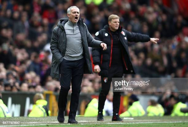Jose Mourinho Manager of Manchester United reacts during the Premier League match between Manchester United and AFC Bournemouth at Old Trafford on...