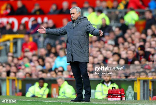 Jose Mourinho Manager of Manchester United reacts during the Premier League match between Manchester United and West Bromwich Albion at Old Trafford...