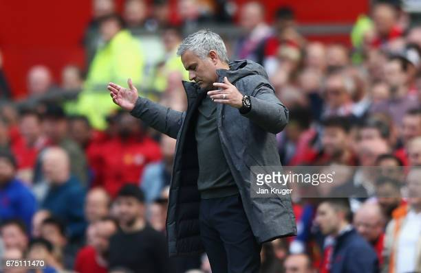 Jose Mourinho Manager of Manchester United reacts during the Premier League match between Manchester United and Swansea City at Old Trafford on April...