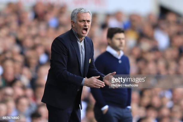 Jose Mourinho Manager of Manchester United reacts during the Premier League match between Tottenham Hotspur and Manchester United at White Hart Lane...