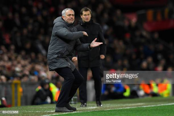 Jose Mourinho Manager of Manchester United reacts during the UEFA Europa League Round of 16 second leg match between Manchester United and FK Rostov...