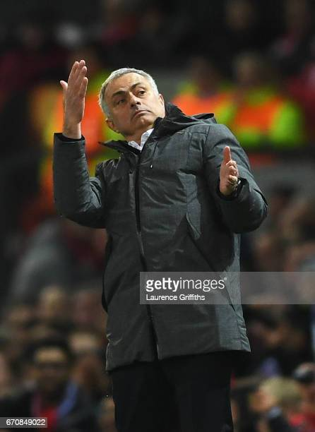 Jose Mourinho manager of Manchester United reacts during the UEFA Europa League quarter final second leg match between Manchester United and RSC...