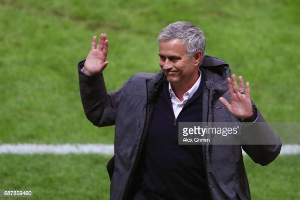 Jose Mourinho Manager of Manchester United reacts during the UEFA Europa League Final between Ajax and Manchester United at Friends Arena on May 24...