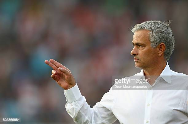 Jose Mourinho Manager of Manchester United reacts prior to the UEFA Europa League Group A match between Feyenoord and Manchester United FC at...