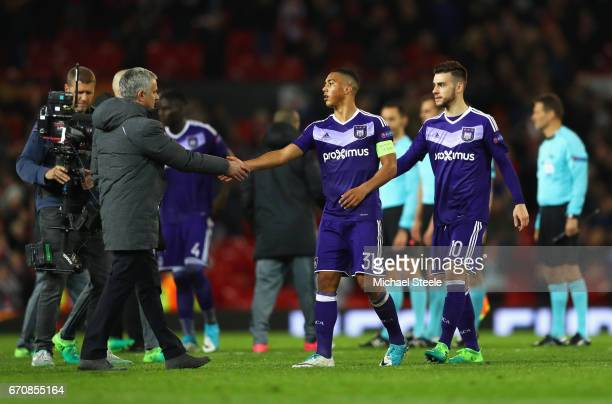 Jose Mourinho manager of Manchester United shakes hands with Youri Tielemans of RSC Anderlecht after the UEFA Europa League quarter final second leg...