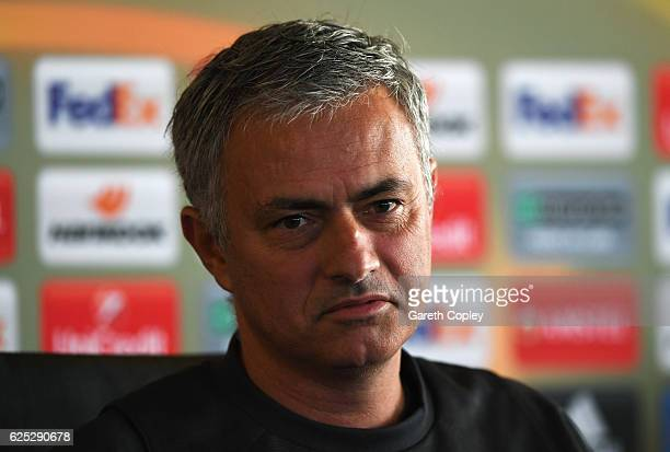 Jose Mourinho manager of Manchester United speaks during a Manchester United press conference on the eve of their UEFA Europa League match against...