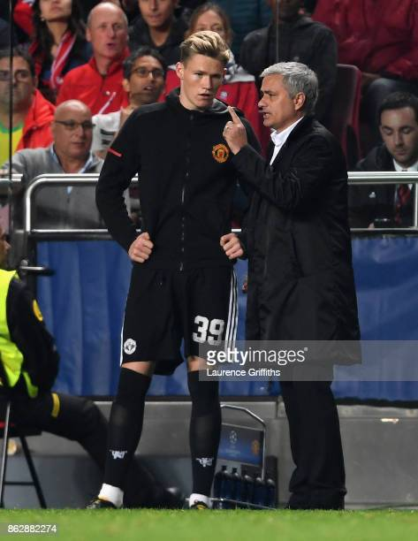 Jose Mourinho Manager of Manchester United speaks to Scott McTominay of Manchester United before he comes on during the UEFA Champions League group A...