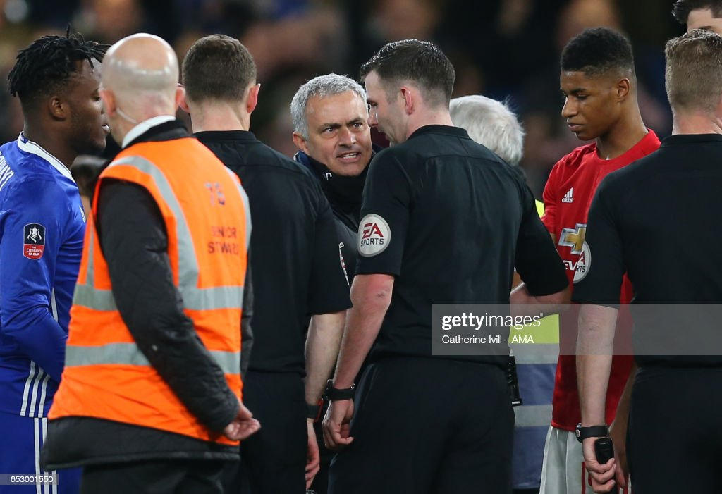 Jose Mourinho Manager of Manchester United speaks with Referee Michael Oliver at the end of The Emirates FA Cup Quarter-Final match between Chelsea and Manchester United at Stamford Bridge on March 13, 2017 in London, England.
