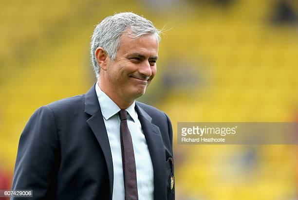 Jose Mourinho Manager of Manchester United takes a look aroiund the pitch prior to kick off during the Premier League match between Watford and...