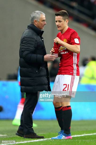 Jose Mourinho manager of Manchester United talks to Ander Herrera of Manchester United during the EFL Cup Final match between Manchester United and...