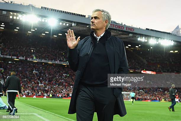 Jose Mourinho Manager of Manchester United waves prior to the Premier League match between Manchester United and Southampton at Old Trafford on...