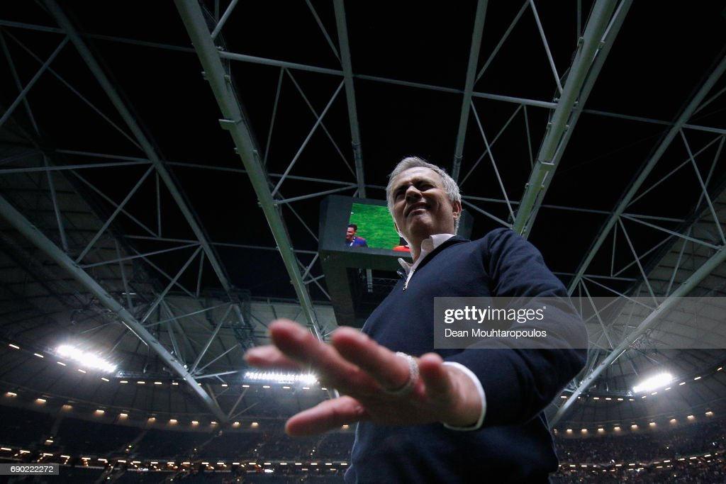 Jose Mourinho, Manager of Manchester United winks as he celebrates victory following the UEFA Europa League Final between Ajax and Manchester United at Friends Arena on May 24, 2017 in Stockholm, Sweden.