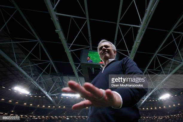 Jose Mourinho Manager of Manchester United winks as he celebrates victory following the UEFA Europa League Final between Ajax and Manchester United...