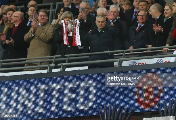 Jose Mourinho Manager of Manchester United with the trophy during the EFL Cup Final match between Manchester United and Southampton at Wembley...