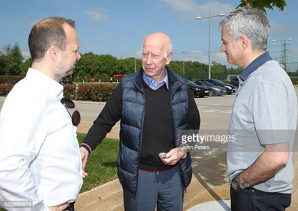 Jose Mourinho new manager of Manchester United is shown round the Aon Training Complex by Sir Bobby Charlton and Executive Vice Chairman Ed Woodward...