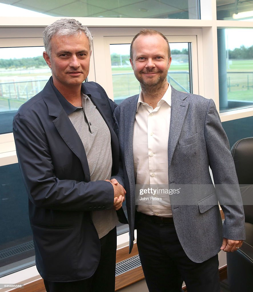 Jose Mourinho, new manager of Manchester United, is shown round the Aon Training Complex by Executive Vice Chairman <a gi-track='captionPersonalityLinkClicked' href=/galleries/search?phrase=Ed+Woodward&family=editorial&specificpeople=10617999 ng-click='$event.stopPropagation()'>Ed Woodward</a> at Aon Training Complex on May 30, 2016 in Manchester, England.