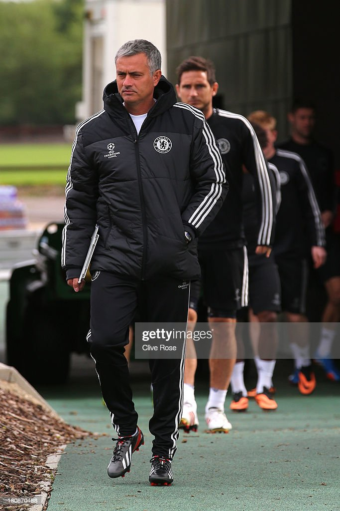 Jose Mourinho of Chelsea arrives for a training session on September 17 2013 in Cobham England