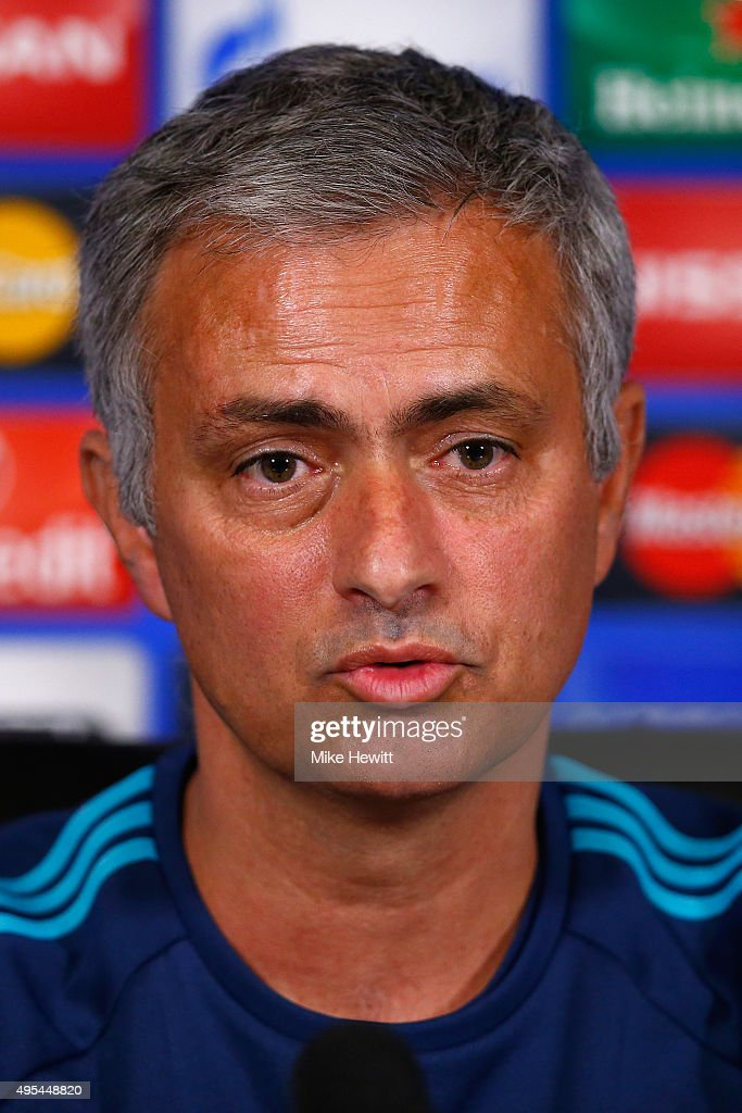Jose Mourinho of Chelsea faces the media during a Chelsea press conference, ahead of the UEFA Champions League Group G match between Chelsea and Dynamo Kiev, at Chelsea Training Ground on November 3, 2015 in Cobham, England.