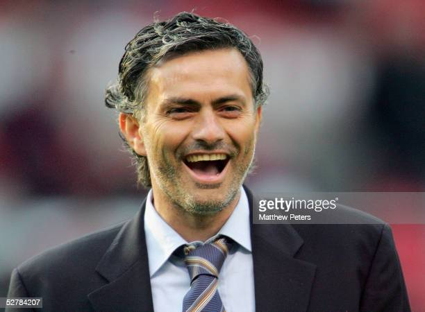 Jose Mourinho of Chelsea laughs ahead of the Barclays Premiership match between Manchester United and Chelsea at Old Trafford on May 10 2005 in...