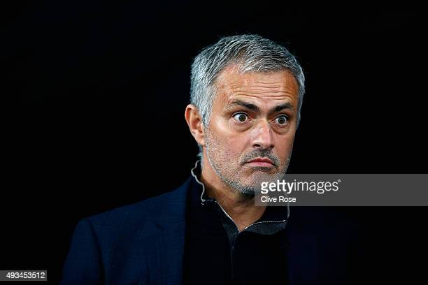 Jose Mourinho of Chelsea looks on prior to kick off during the UEFA Champions League Group G match between FC Dynamo Kyiv and Chelsea at the Olympic...