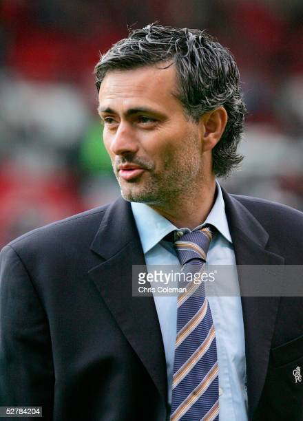 Jose Mourinho of Chelsea smiles ahead of the Barclays Premiership match between Manchester United and Chelsea at Old Trafford on May 10 2005 in...