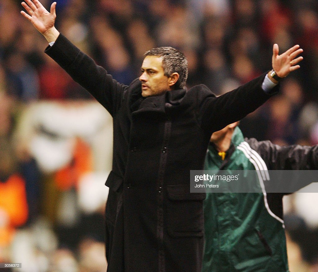 Jose Mourinho of FC Porto celebrates at fulltime of the UEFA Champions League match between Manchester United and FC Porto at Old Trafford on March 9...