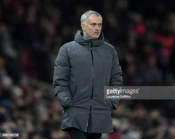 Jose Mourinho of Manchester United looks on during the UEFA Champions League group A match between Manchester United and CSKA Moskva at Old Trafford...