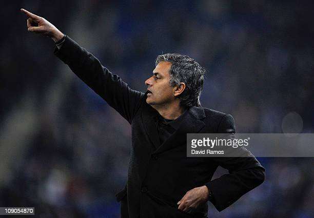 Jose Mourinho of Real Madrid reactsduring La Liga match between RCD Espanyol and Real Madrid at Estadi CornellaEl Prat on February 13 2011 in...