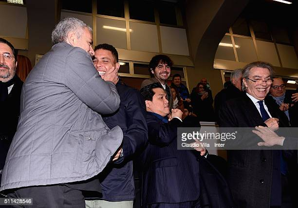 Jose Mourinho Ronaldo Luis Nazario de Lima President FC Internazionale Erick Thohir and Honorary President FC Internazionale Massimo Moratti attend...