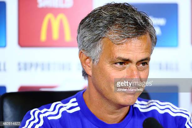 Jose Mourinho talks during a press conference at Chelsea Training Ground on July 31 2015 in Cobham England