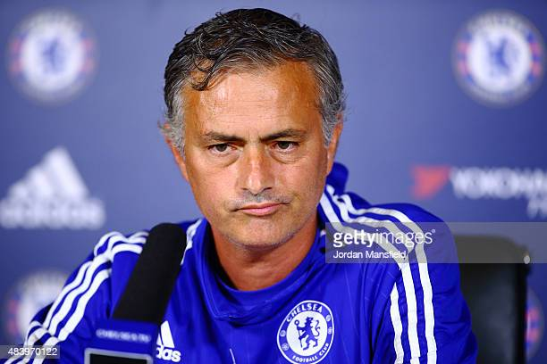 Jose Mourinho talks during a press conference at Chelsea Training Ground on August 14 2015 in Cobham England