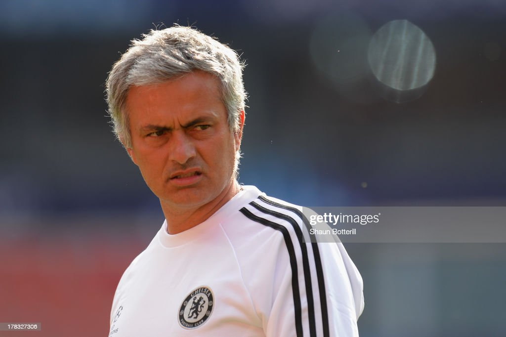 Jose Mourinho the Chelsea coach during a training session prior to the UEFA Super Cup match between FC Bayern Munchen and Chelsea at Stadion Eden on August 29, 2013 in Prague, Czech Republic.