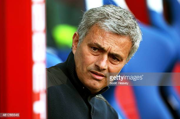 Jose Mourinho the Chelsea manager looks on prior to kickoff during the Barclays Premier League match between Crystal Palace and Chelsea at Selhurst...