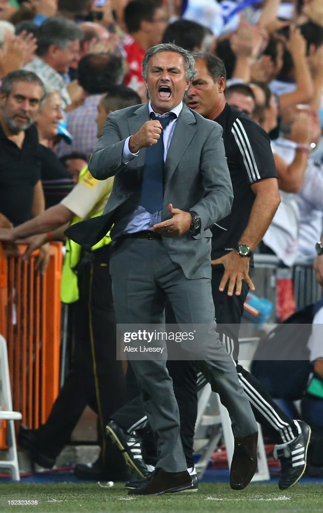 Jose Mourinho the coach of Real Madrid celebrates the winning goal during the UEFA Champions League Group D match between Real Madrid and Manchester City FC at Estadio Santiago Bernabeu on September 18, 2012 in Madrid, Spain.